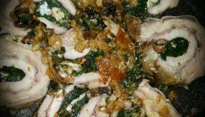 Rollata di vitello con spinaci, noci e gorgonzola